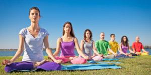 Yoga class on beach