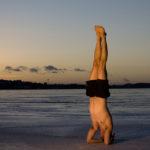 Headstand on beach